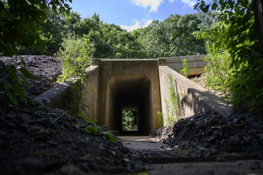 An old train tunnel dated to 1930 at Castlewood State Park. Tourists once visited the area by train in the early 1900s, which became a park in 1974.