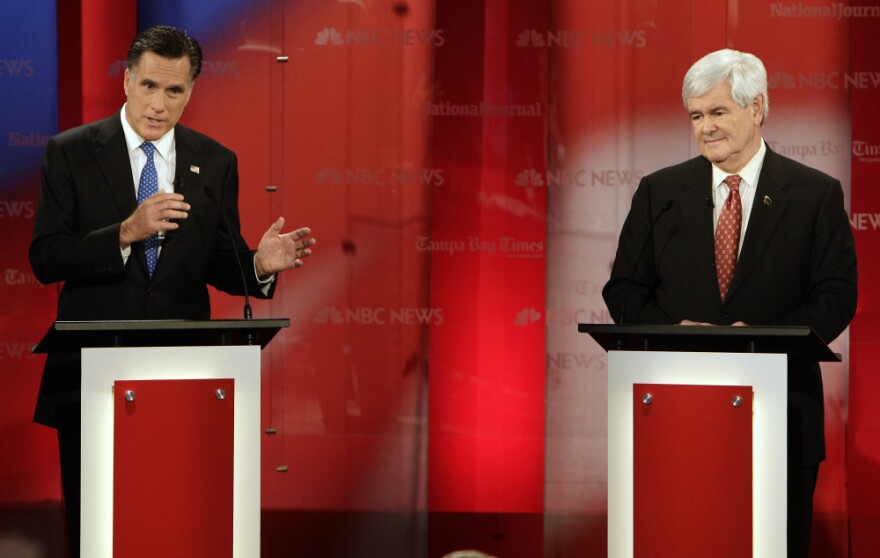 Mitt Romney worked hard to raise doubts about Newt Gingrich at the Tampa GOP presidential debate.