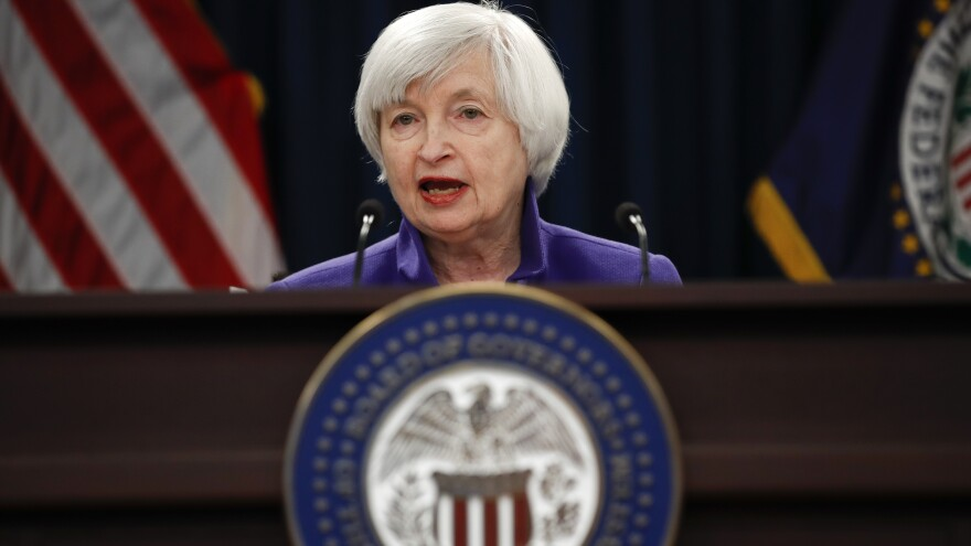 Federal Reserve Chair Janet Yellen speaks during a news conference following last month's Federal Open Market Committee meeting.