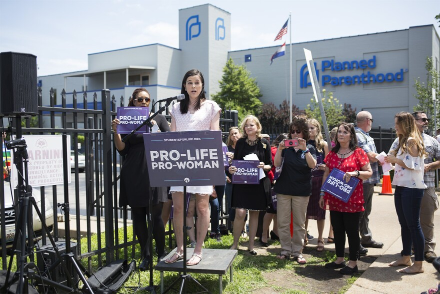 Reagan Barklage, of Students For Life, speaks against abortion outside Reproductive Health Services of Planned Parenthood of the St. Louis Region on Forest Park Ave. on Tuesday afternoon. June 4, 2019