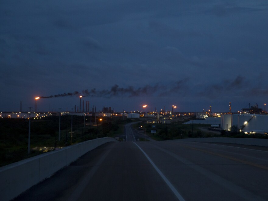 Oil refineries in Port Arthur, Texas, on Aug. 27. Hurricane Laura hit an area with dozens of major refineries and petrochemical facilities.