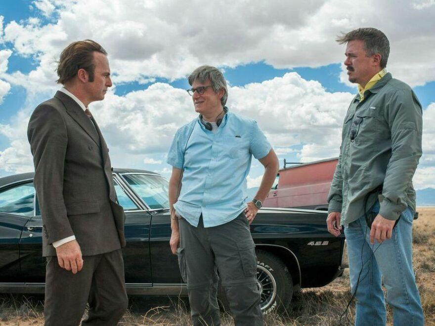 Peter Gould (center) co-created <em>Better Call Saul</em><em>, starring </em>Bob Odenkirk (left),<em> with </em><em>Breaking Bad</em><em> creator </em>Vince Gilligan (right).