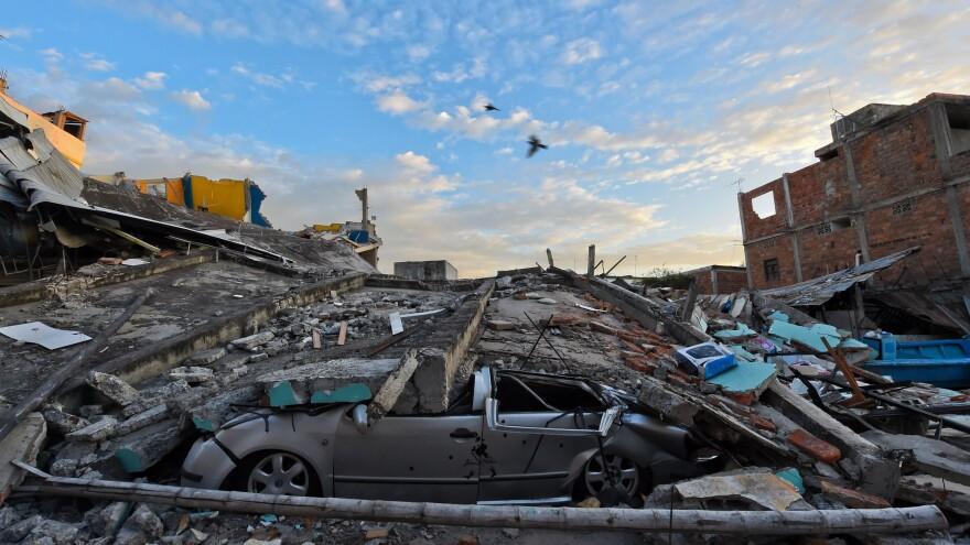 A photo taken Sunday shows Manta, Ecuador, a day after a powerful magnitude 7.8 quake hit the country.
