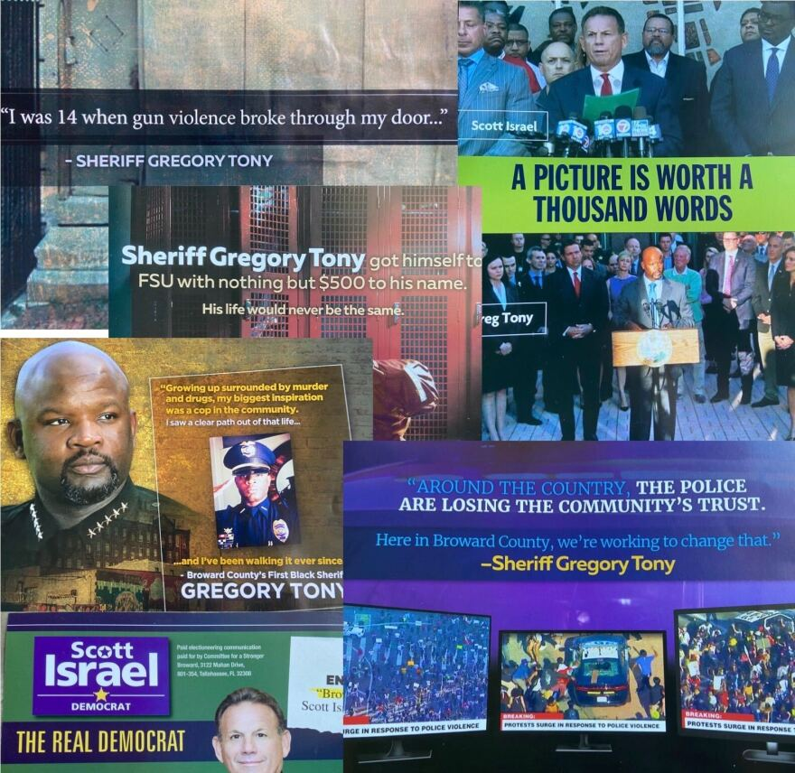 Some of the mailers voters received ahead of the Aug. 18 election in the race for Broward County Sheriff.
