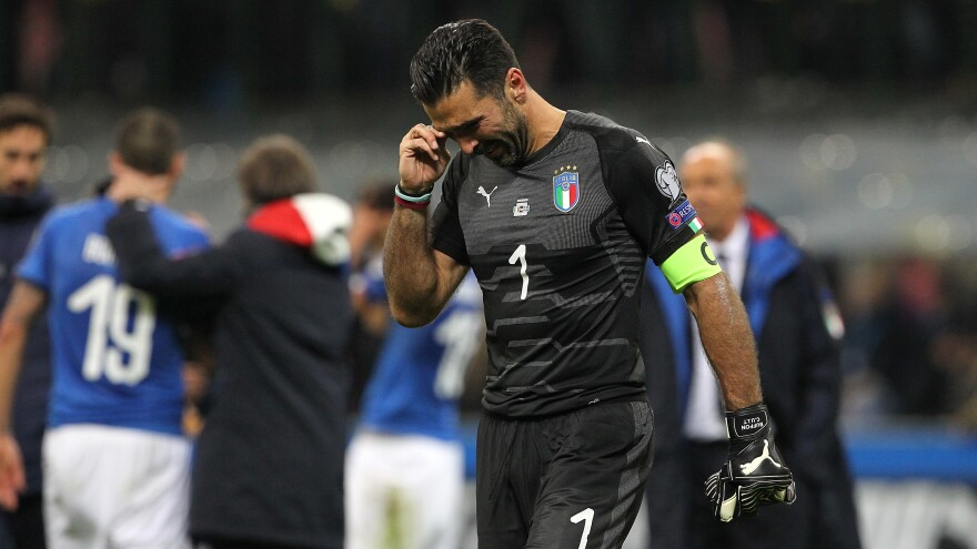 Gianluigi Buffon, seen after the final whistle of the game with Sweden.