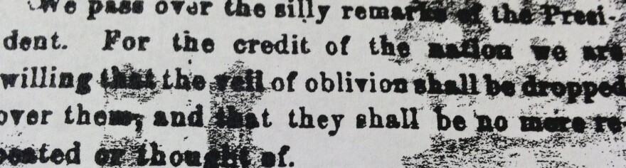 """An undated photo provided by<em> The Patriot-News</em> showing a bit of the 1863 editorial in which President Lincoln's Gettysburg Address was dismissed. The newspaper (then known as<em> The Patriot & Union</em>) referred to Lincoln's words as """"silly remarks."""""""