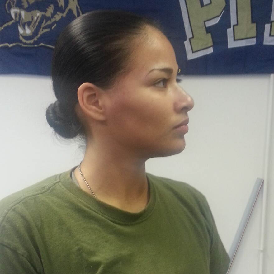 """Sgt. Kristy Rodriguez is training for combat. """"A lot of people think that we can't do it,"""" she says. """"I don't think the same."""""""