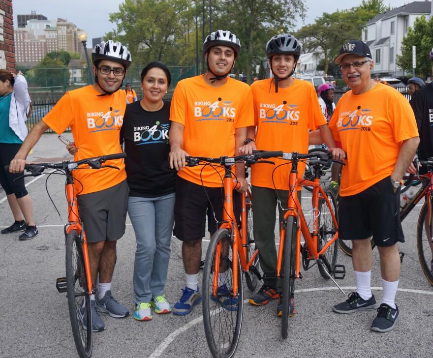 (L-R) Faraz, Fatima, Safi, Aariz and Zia Ahmad at their annual Biking4Books event on Sept. 22, 2018.