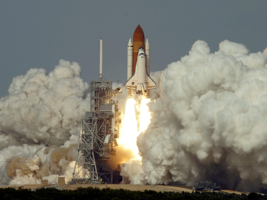 "The Space Shuttle Atlantis lifts off Thursday afternoon Feb. 7, 2008, at the Kennedy Space Center. ""It was this incredible surge of force and sound,"" Melvin says."