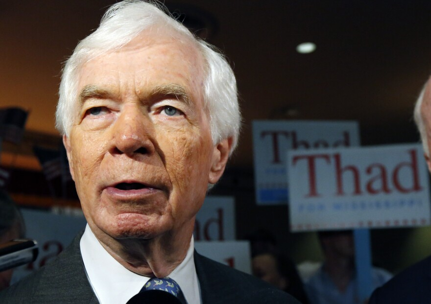 Longtime Republican Sen. Thad Cochran — seen Monday at a rally in Jackson, Miss. — has been courting black voters to help fend off the challenge from Tea Party-backed Chris McDaniel, but the effort could backfire.