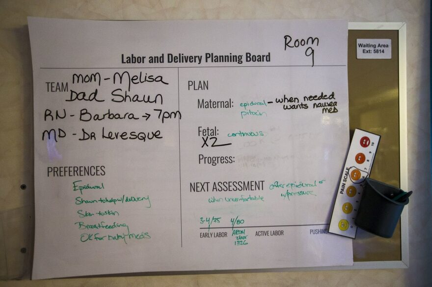 Low-tech, but highly communicative, a whiteboard in the delivery room made sure all members of the birth team were clued in to procedures and preferences throughout labor.