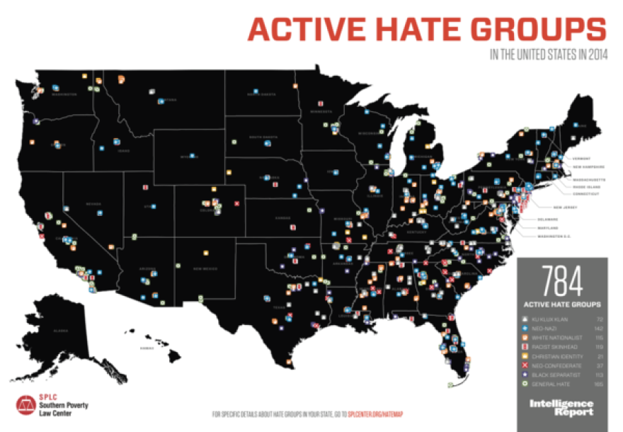 Current Hate Group Map - 784 overall. Florida is second to California with 50 Hate Groups.