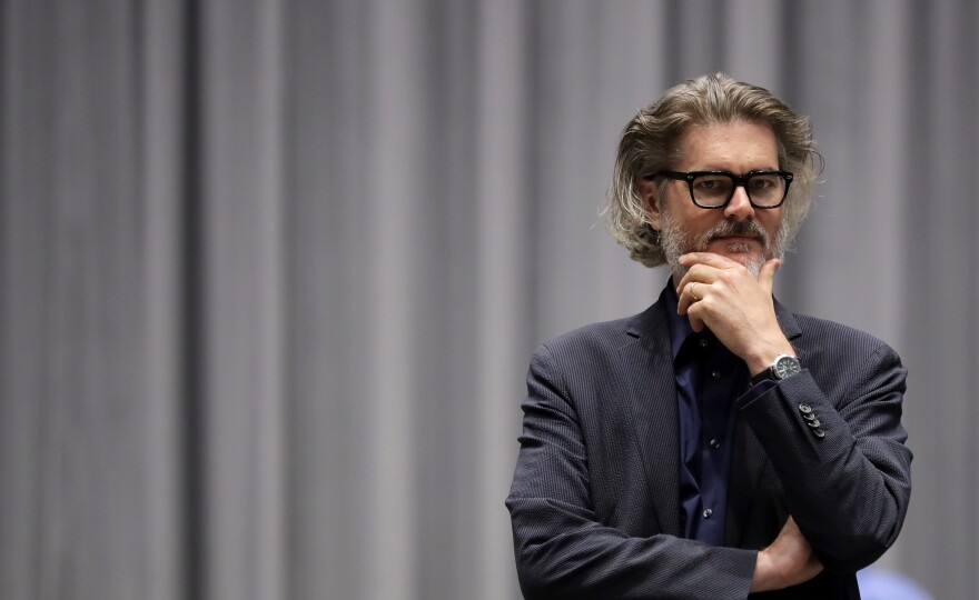 """Author Mo Willems supervises a rehearsal of the musical adaptation of <em>Don't Let the Pigeon Drive the Bus!</em> at the Kennedy Center in Washington, D.C. As the very first Education Artist-in-Residence, """"I can say at this point that I am the greatest ... """" he laughs, """"I'm certainly in the top five."""""""