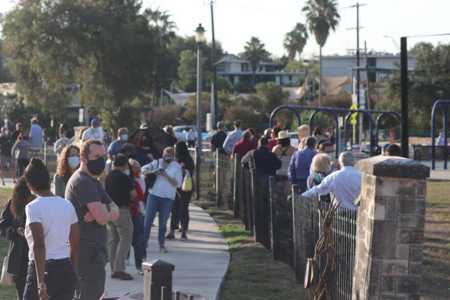 Voters in San Antonio line up at Lions Field Park on the first day of early voting during the 2020 Election.