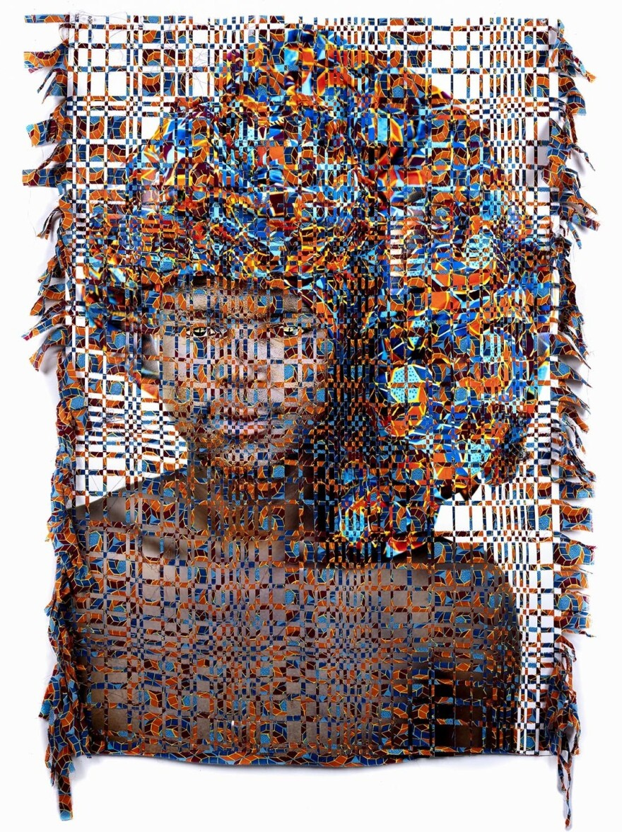 Kyle Meyer, born in Ohio in 1985, combines photography with woven tapestry techniques inspired by traditional African crafts to explore the nature of closeted LGBT identity in this work from his series <em>Unidentified</em>.