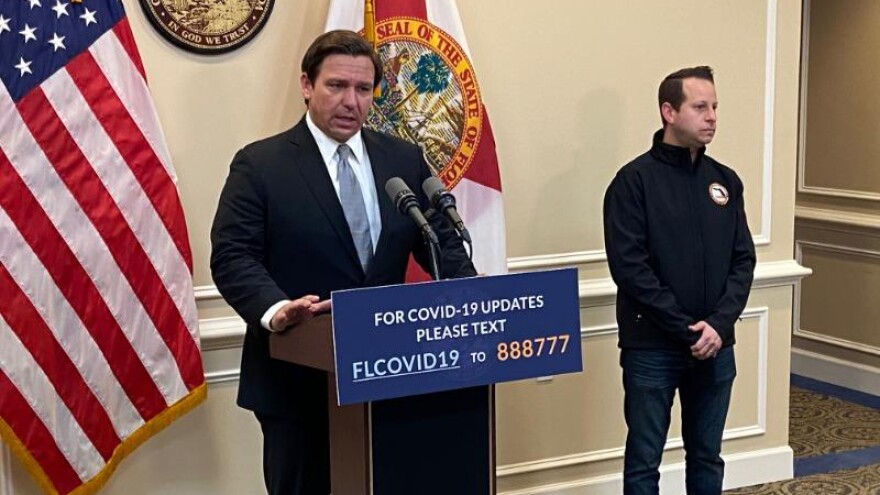 Florida Gov. Ron DeSantis speaks at a press conference April 15, 2020