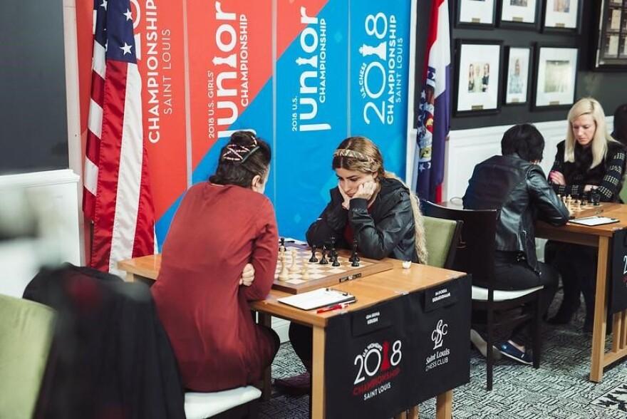 International Master Dorsa Derakhshani (right) playing in the 2018 U.S. Women's Championship against Woman's Grandmaster Irina Krush (left) in St. Louis.