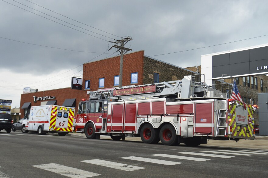 A Chicago Fire Department ambulance and firetruck respond to a call in 2016.
