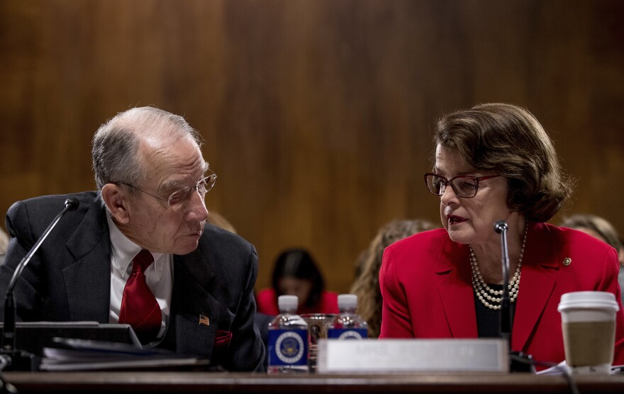 Sen. Charles Grassley, R-Iowa (left), and Sen. Dianne Feinstein, D-Calif., are drafting legislation that would call for new penalties for selling synthetic opioids.