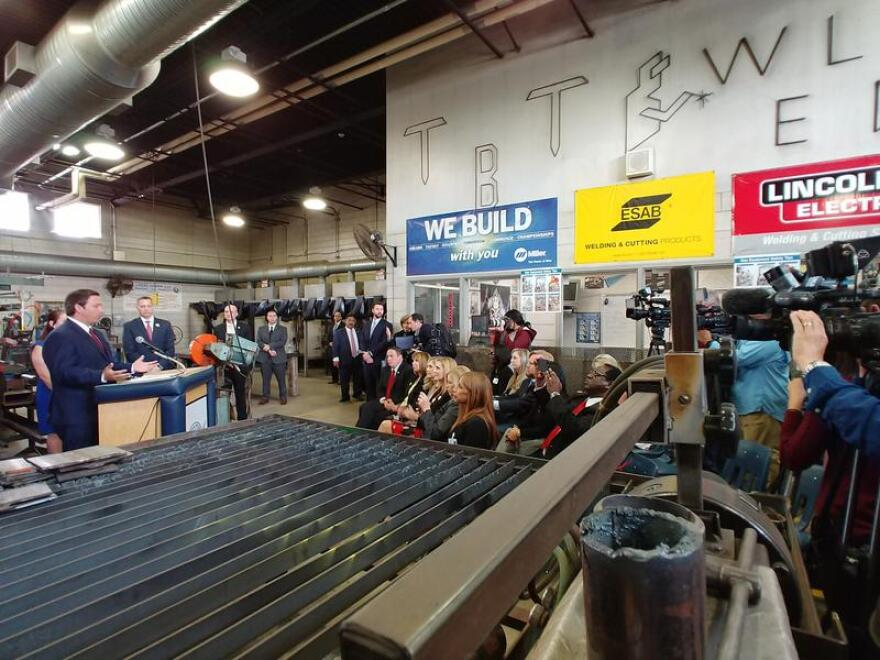 Speaking in a welding shop at Tampa Bay Tech High School, DeSantis announced plans to seek $36 million in state funds for ask the state legislature for $10 million in seed money for workforce apprenticeships and workforce education programs.