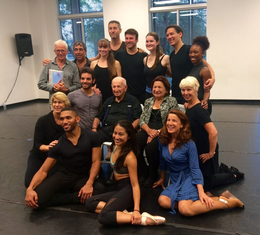 The Stierle family poses for the camera with the Dance Now Miami troupe.