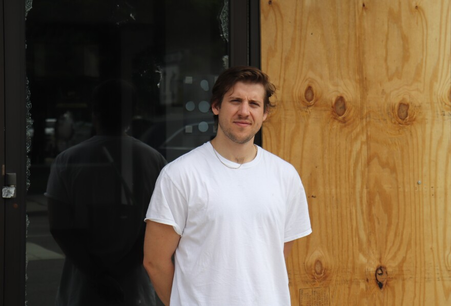 Chad Goodwin at the door to his restaurant 4th & State on May 29, 2020.