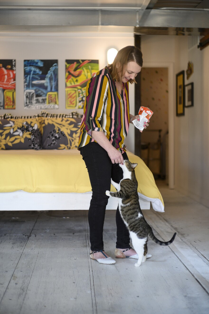 Art and cats both play key roles within the space.