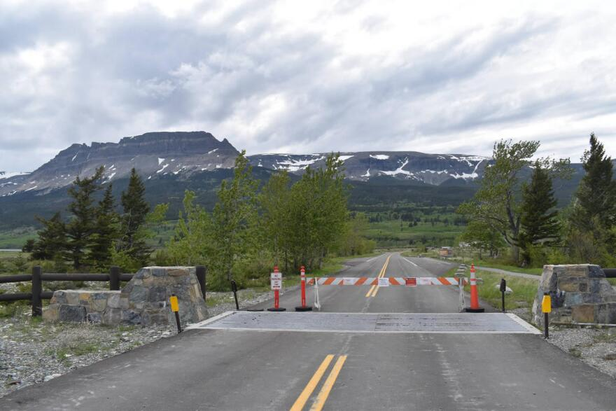 A photo from June 06, 2020 shows the closed St. Mary entrance into Glacier National Park, which borders the Blackfeet Indian Reservation. The Blackfeet Nation has maintained travel closures longer than Glacier Park or the state of Montana.