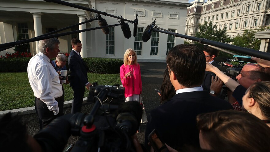 White House counselor Kellyanne Conway speaks to the media in August.