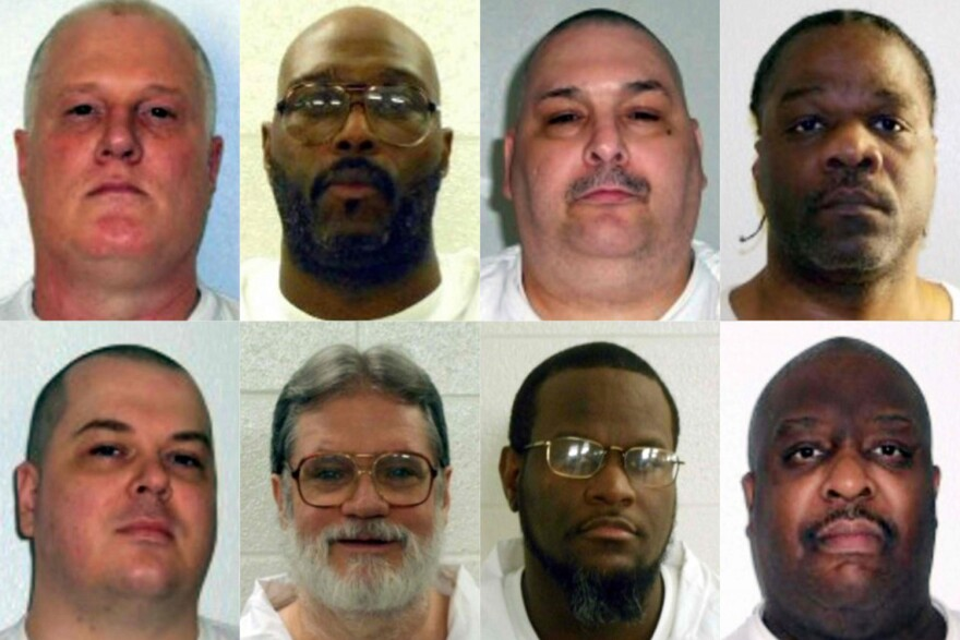 The eight Arkansas death-row inmates scheduled for execution this month. Jason McGehee, bottom row on the left, had his execution stayed by a judge this week. (AFP Photo/Getty Images/Arkansas Department of Correction)