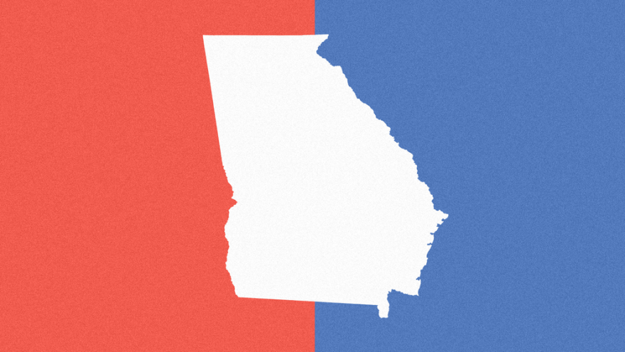 white Georgia with red and blue background