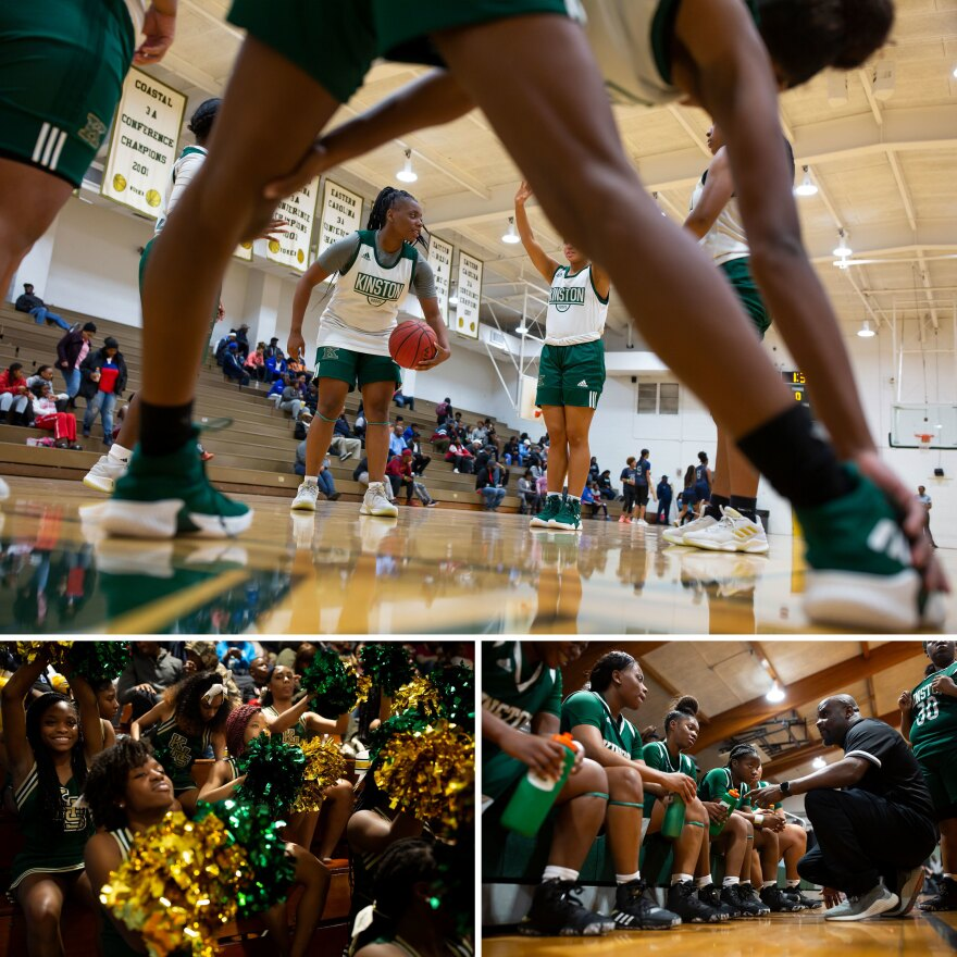 "Top: Taliyah Jones warms up with the rest of her team before a game. Left: Kinston High School cheerleaders support the girls team during a game against South Lenoir High School. Right: Coach Bradshaw talks with the team during a game. Bradshaw has been head coach since 2013. ""God has blessed me to mentor these kids,"" he says."