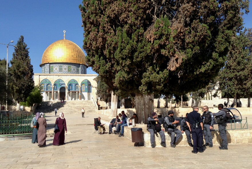 During visiting hours for non-Muslims, Israeli police patrol the Jerusalem holy site. They often escort Jewish visitors, both to avoid confrontations with Palestinians and to enforce the Israeli policy banning Jewish prayer at the site.