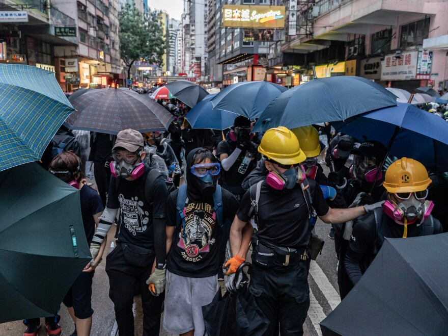 Pro-democracy protests continued for the 18th week in Hong Kong on Sunday. Demonstrators continued to wear face masks and goggles despite a ban put into place by the city's chief executive Carrie Lam on Friday.