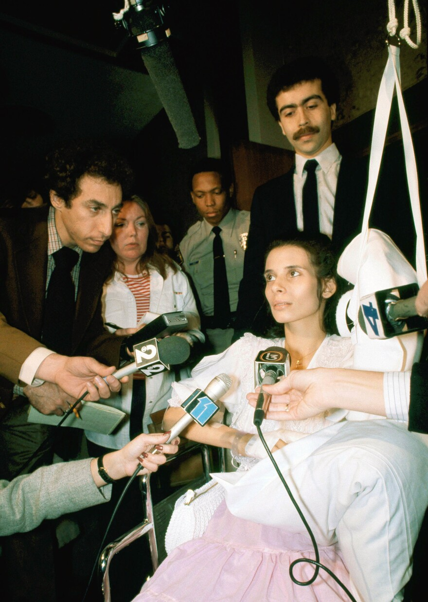 Theresa Saldana leaves the Beverly Hills court building where she had given testimony during a preliminary hearing in 1982 of Arthur Richard Jackson, who was later convicted of attempted murder. Saldana is heavily bandaged following a knife attack by Jackson on March 15, 1982.