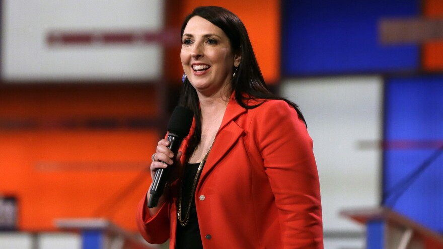 Ronna Romney McDaniel, the Michigan Republican Party chair, speaks before a Republican presidential primary debate in Detroit in March.