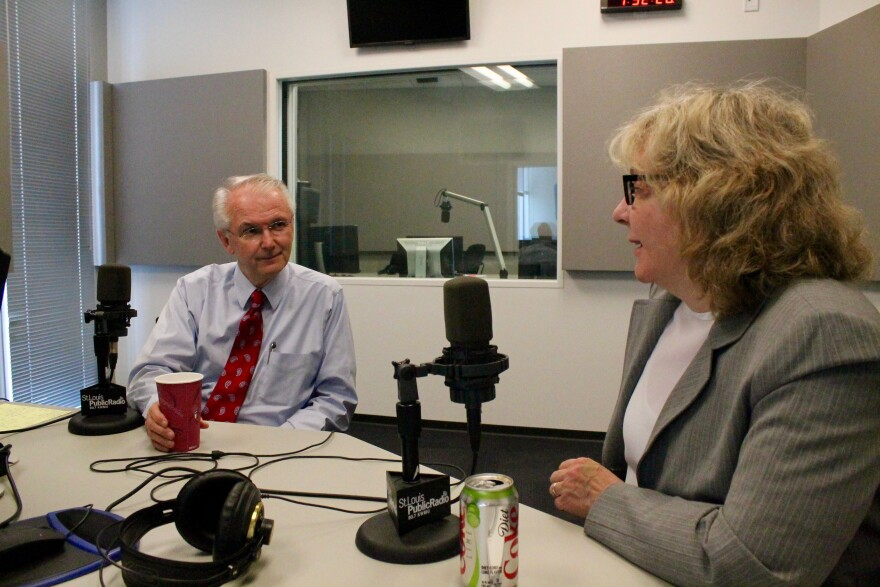 """St. Louis Public Radio's Jo Mannies chats with Holden before recording an episode of """"Politically Speaking."""""""