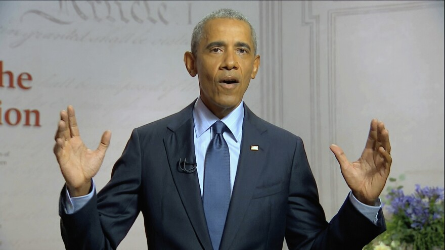 In this image from video, former President Barack Obama speaks Wednesday night at the convention, touching on President Trump's handling of the coronavirus crisis.
