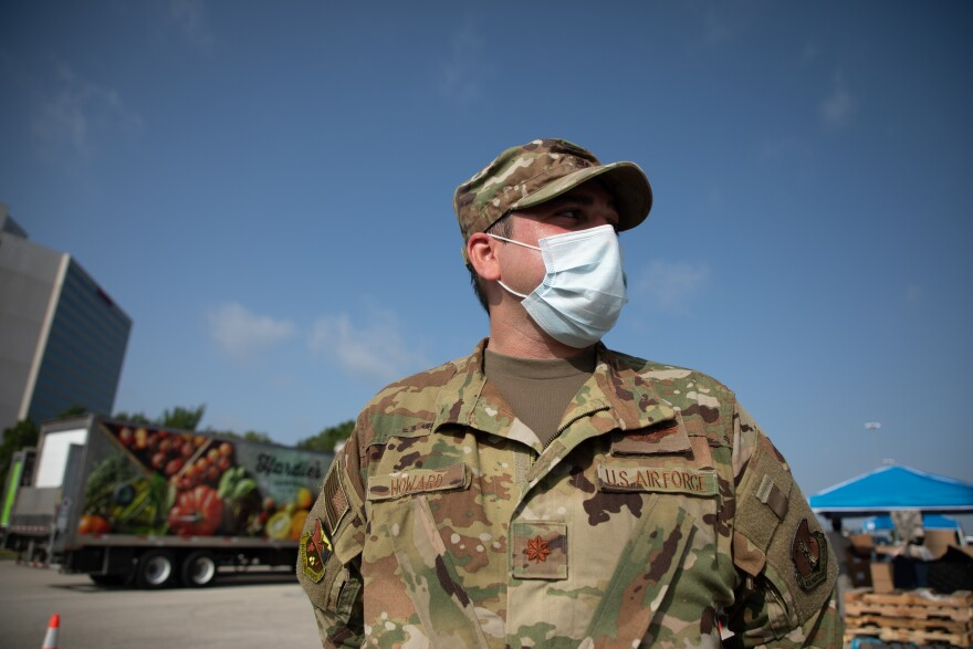 Texas Air National Guard Major Daryl Howard helped with the distribution of food for the food bank.