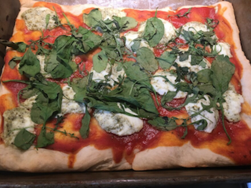 The family was making the best of the statewide Stay at Home coronavirus order by doing a lot of baking. Here, a homemade pizza from scratch Zamonski made with her daughter.