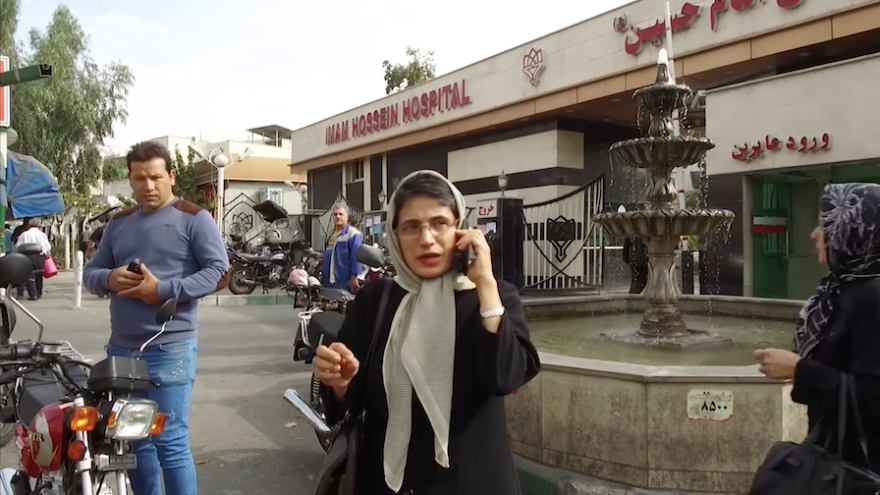 In a scene from the documentary <em>Nasrin, </em>Sotoudeh is shown outside a Tehran hospital before her arrest in 2018.