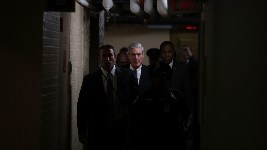 Department of Justice special counsel Robert Mueller leaves after a closed meeting with members of the Senate Judiciary Committee in June at the Capitol in Washington, D.C.