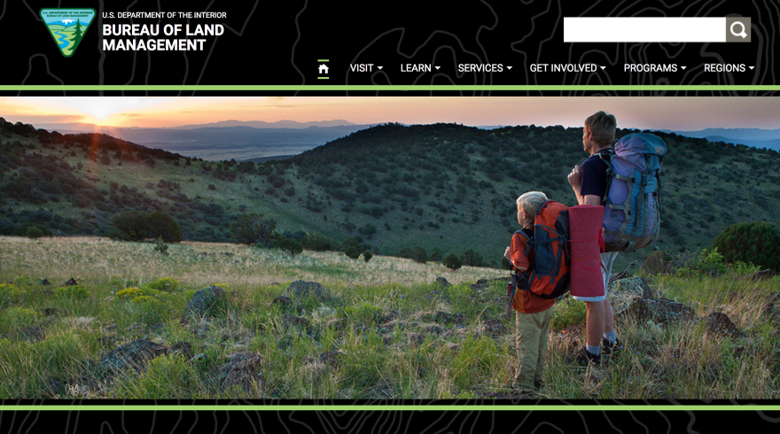 """A cached version of <a href=""""https://www.blm.gov/"""">BLM.gov</a> from March 25 shows the Bureau of Land Management's home page previously featured a photo of a young boy and his companion overlooking a scenic landscape."""