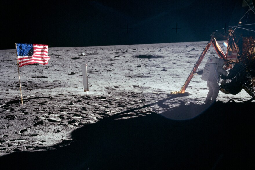 "Astronaut Neil Armstrong took the majority of the photos while he was on the moon with Edwin ""Buzz"" Aldrin. As a result, most pictures of an astronaut on the moon during Apollo 11 are of Aldrin. This is one of the rare photos of Armstrong."