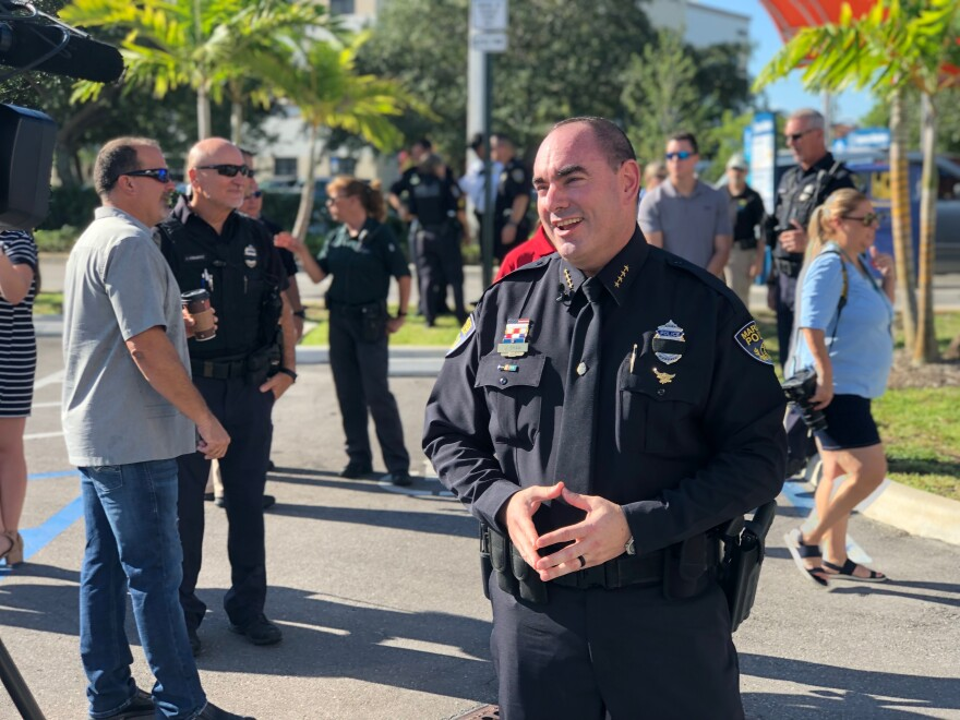 """Margate chief of police Jonathan Shaw speaks at the launch event of """"Project Autism,"""" a program that teaches and trains officers how to interact with individuals on the autistic spectrum on Tuesday, July 23."""