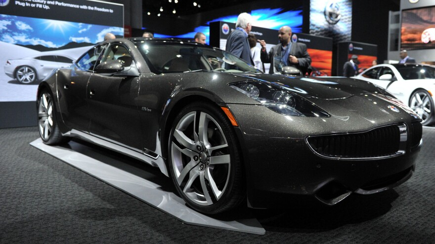 The Karma sedan, a premium electric plug-in hybrid by Fisker Automotive, is seen at the New York International Auto Show on April 5, 2012.