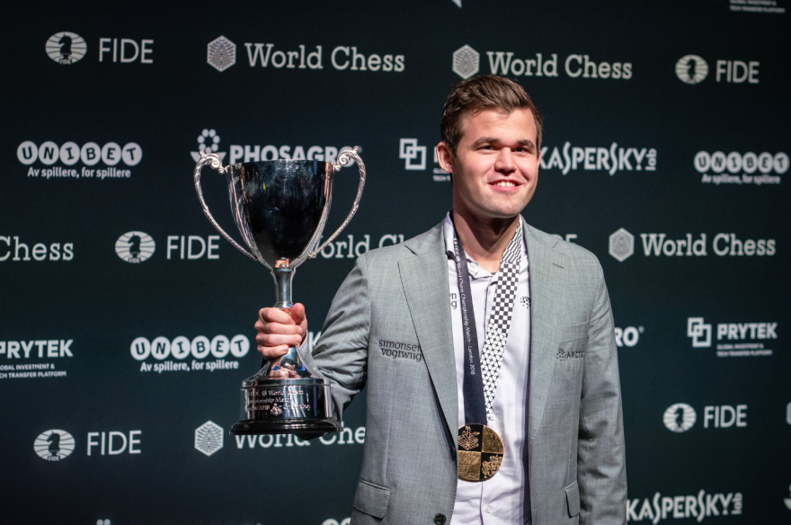 Grandmaster Magnus Carlsen of Norway claimed victory at the 2018 World Chess Championship in London on Nov. 28.