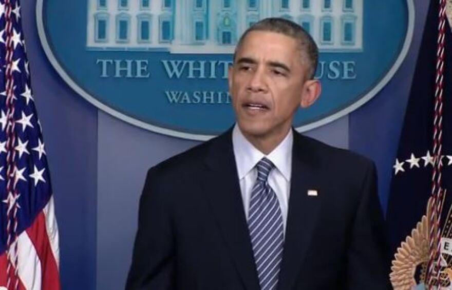 President Obama delivers remarks after the grand jury decision was announced.