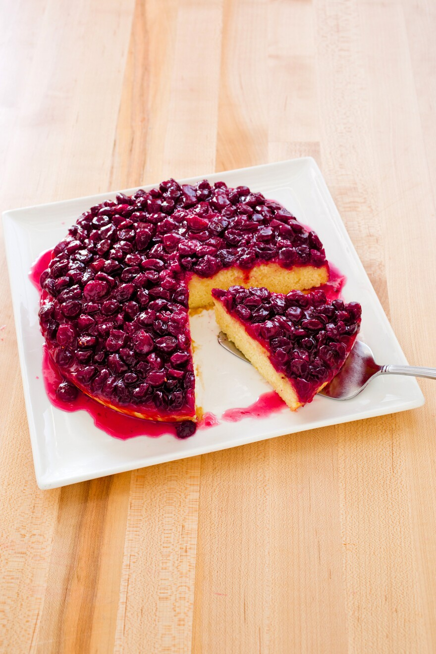 Cranberry Upside-Down Cake balances a sweet-tart cranberry topping with a tender butter cake.