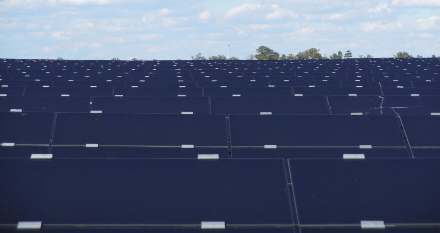 The Monroe solar farm, on about 400 acres off South Rocky River Road, has about 684,000 solar panels.
